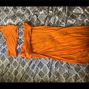 Orange two piece skirt set